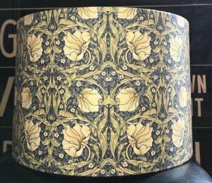 MADE TO ORDER LAMPSHADE WILLIAM MORRIS PIMPERNEL FABRIC BLUE GREEN CREAM LEMON