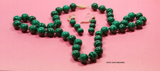 "MALACHITE BEAD NECKLACE 21.50"" +  EARRINGS 14k  CLASP BEADS & LEVER BACK EAR WIR"