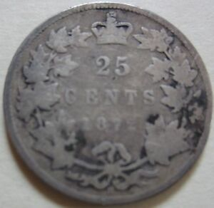 1872 H Canada Silver Twenty-Five Cents Coin. (UJ33)