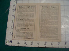 1919 KICKAPOO SAGWA paper leaflet from container
