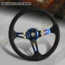 350MM Titanium Blue Red Stitched Black Leather 3-Spoke Racing Steering Wheel
