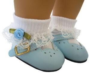 "For 18"" American Girl Light Blue Shoes & Rosebud Socks Doll Clothes HIGH QUALITY"