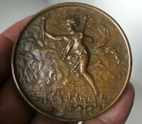 1898 Pre-OLYMPIC Paris Vintage French Nude Angel bronze medal 55mm ,80gr