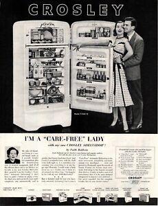 1952 ORIGINAL VINTAGE CROSLEY REFRIGERATOR APPLIANCE MAGAZINE AD