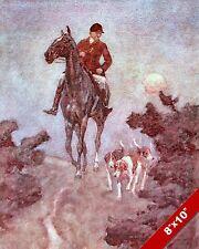 HUNTER'S MOON FOX HUNT HORSE FOXHUNTING HUNTING ART PAINTING REAL CANVAS PRINT