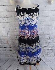 "BNWT KALIKO dress 12 bust 37"" floral midi blue party cruise wedding 100% cotton"