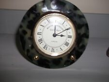 Clock Roger Lascelles minature mantle clock in green oynx and gold trim
