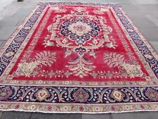 Old Hand Made Traditional Persian Rugs Oriental Wool Blue Large Carpet 390x288cm