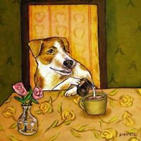 jack russell terrier coffee creamer dog art tile coaster gift gifts