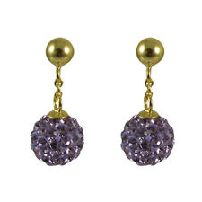 Shamballa Inspired Purple Crystal Ball Sterling Silver Gold Plated Kids Earrings