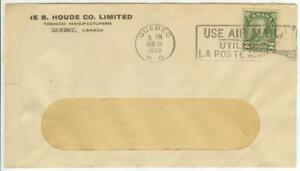1930 Quebec Canada B Houde Tobacco 2ct coil Sc 180 cover w/ slogan cancel