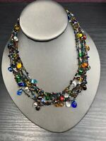"Vintage Bohemian 16 "" Mixed  Coloured Multi Strand beaded Bib Statement necklace"