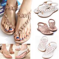 Women Summer Bohemia Flip Flops Flat Sandals Clip Toe Beach Thong Shoes Size US