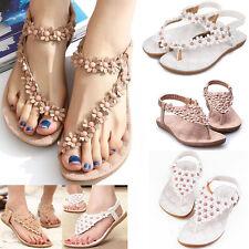 AU Womens Boho Clip Toe Sandals Casual Fancy Summer Flats Beach Shoes Flip Flops