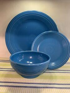 Fiestaware PEACOCK fiesta dinner plate , HTF rice bowl and salad plate