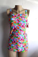 New Tropical Floral Retro Bandeau Convertible Mock Wrap Swimsuit Size 10