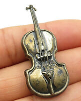 925 Sterling Silver - Vintage Miniature Violin Designed Brooch Pin- BP2058