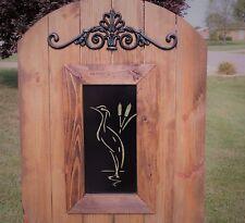 Crane Steel Insert Window for Wood Gate, Beach Pattern Gate, Bird Decoration