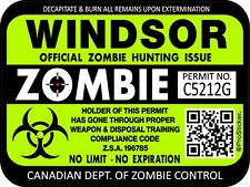 Canada Windsor Zombie Hunting License Permit 3x 4 Decal Sticker Outbreak 1325