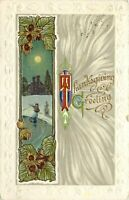 DB Postcard L008 Thanksgiving Embossed Woman Ice Skating Chestnuts 1912 Posted