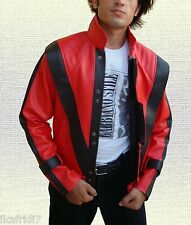 "Michael Jackson ""Thriller"" Song Handmade Synthetic Red Leather Jacket Small- 5XL"