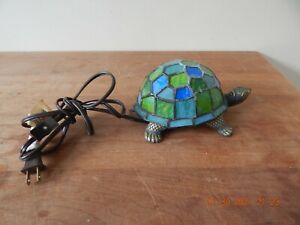 Blue TURQUOISE Stained Glass Turtle Night Light Accent Table Lamp BRASS