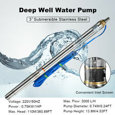 """Submersible Deep Well Water Pump W 20 Cable,3"""" 750W 1HP 220V/50hz Max Flow 3M3/H"""