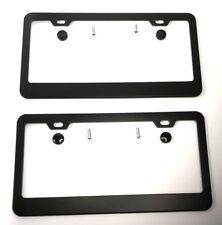 Pair Black Metal License Plate Frames w/ Screws & Caps (Universal)