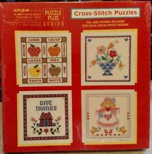 Vintage Springbok 4 Mini 7 x 7 Cross-Stitch Puzzles Apples Girl Flowers House