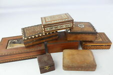8 Assorted Vintage Decorative WOODEN BOXES Inc Carved, Abalone Shell Inlay Etc