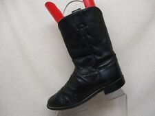 JUSTIN Black All Leather Roper Cowboy Western Boots Men Sz 9.5 EE Style 3133 USA
