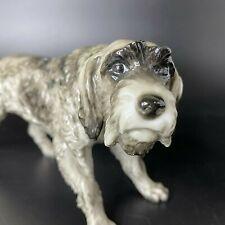 Vintage Rosenthal Porcelain Gray Black German Wirehaired Pointer Dog Figurine