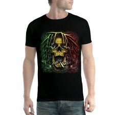 Rasta Skull Dreadlocks Smoke Mens T-shirt XS-5XL