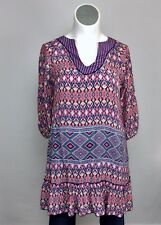 Tolani L/XL Pink Orange Blue Silk Ikat Blouse Tunic Top Shirt Dress Cover Up