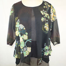 NEW NWT Citron Clothing Plus Size Bamboo Floral 100% Silk Layered Fly Blouse 2X