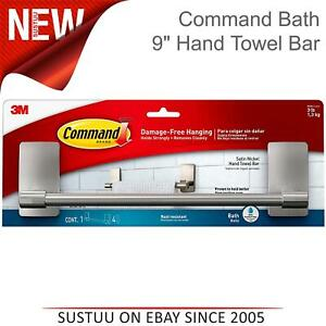 """3M Command Bath 9"""" Satin Nickel Bath Hand Towel Bar│Holds 1.3 Kg│BATH41-SN"""