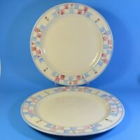 Hartstone Pottery 2 Dinner Plates USA Blue Lavender Pink Checks Heart Flowers