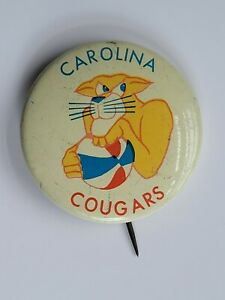 North Carolina Cougars Metal Button Pin Back Basketball Vintage Rare Collection