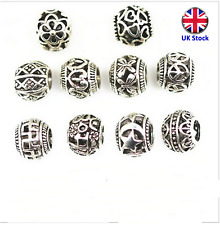Mixed Style Big Hole Metal Spacer Beads: Set of 10 Spacer Beads - UK Stock