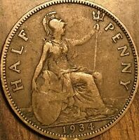 1934 UK GREAT BRITAIN HALF PENNY