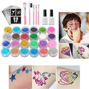 Glitzer Tattoo Set Kinder Glitzertuben Schablonen Glue Temporäre Kit Make Up Kör