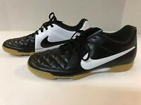 Nike Tiempo Rio II IC Indoor Soccer Shoes Black White Youth Size 4.5 Euro 36.5