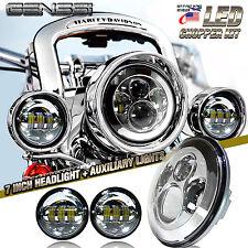 "7"" Chrome LED Projector Daymaker Headlight + Passing Lights For Harley Davidson"