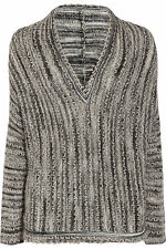 $800 Missoni Textured open-knit mohair-blend gray striped V-neck sweater Sz L