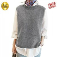 Wool Women Sweater Vest Sleeveless O-Neck Knitted Long Spin Vests Gray Casual