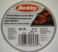 Berkley Steelon Nylon Coated Fishing Wire Leader SS Material D60 60lb 30ft