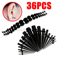 36pcs Acrylic Ear Plugs Expander Kit Taper Stretcher Gauges Stretching Tunnel *