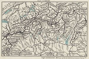 C3343 Italy - Alps Centre - Map Period - 1934 Vintage Map