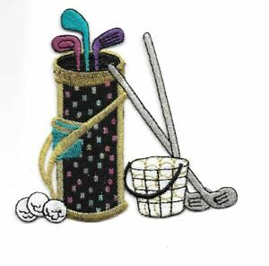 """3 7/8"""" x 4"""" Gold Silver Metallic Golf Clubs Bag Balls Embroidered Patch"""