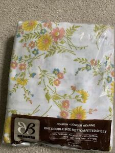 New unused Double Vintage Floral Fitted Sheet.